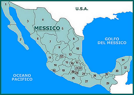 Cartina Politica Messico.I 32 Stati Dell Unione Messicana